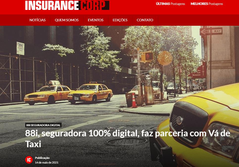 Revista InsuranceCorp divulga parceria 88i Seguradora Digital e Vá de Taxi